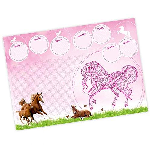 nikima - Kinder Schreibtischunterlage Pferde pink rosa mit Mandala - 25 Blatt Papier zum abreißen, A2 Malunterlage - Geschenk zum Schuleintritt Schulanfang Einschulung Mädchen