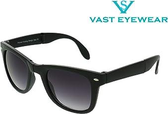 Vast UV Protected Wayfarer Unisex Sunglasses (POCKET_SIZE_FOLDABLE_BLACK 52 Grey)