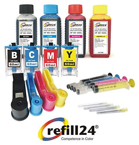 Kit de Recarga para Cartuchos de Tinta HP 920, 920 XL Negro y Color + adaptadores de Recarga, Incluye Accesorios + 400 ML Tinta