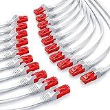 CSL – 20 x 0,25m - Cat 6 Netzwerkkabel Flach | Gigabit Ethernet LAN | RJ45 Kabel / Flachbandkabel / Verlegekabel | 10/100/1000 Mbit/s | Patchkabel / Flachkabel | Kompatibel zu Cat.5 / Cat.5e / Cat.6 | weiß