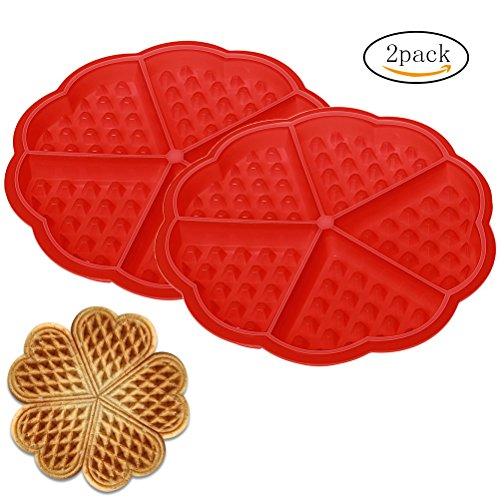 Siming 2 Stück Silikon Waffel Backen Formen, in Herzform Biscuit Waffle Form für DIY Backen - Silikon-form Waffel