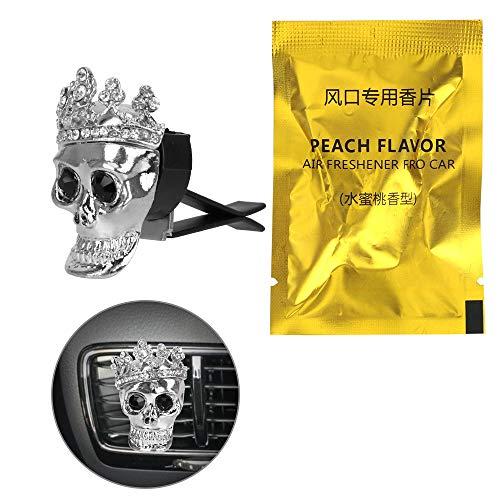 TUDUDU Auto Profumo Deodorante Metallo Teschio con Corona Auto Ornamento Auto Decorazione Presa Aria Clip Fragranza Auto-Styling Accesso