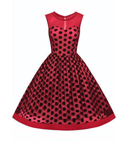 Smile YKK Robe Princesse Femme Tulle Sans Manche Col Rond Casual Eté Pois Imprimé Vintage Rouge