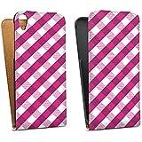 HTC Desire 820 Tasche Hülle Flip Case Karo Muster Pink
