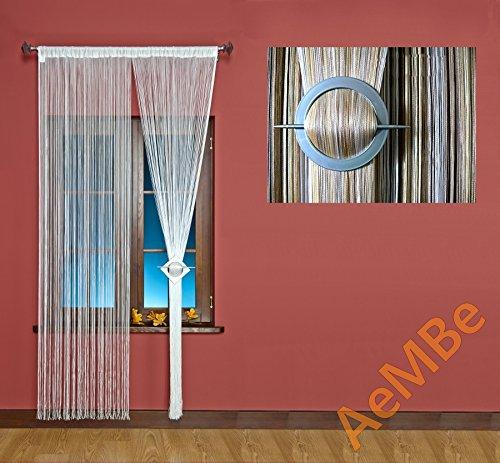 AeMBe – Fadenvorhang Fadengardine Türvorhang – 180cm X 300cm – (Weiß / Ecru / Beige) Beschattet – Höchste Qualität