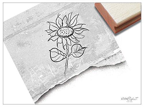 Stempel - Motivstempel Blume SONNENBLUME groß - Blumengrüße Bildstempel Kinderstempel Geschenk für Kinder Schule Kita Einschulung Deko - zAcheR-fineT