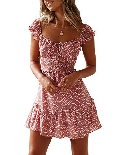 Ybenlover Damen Blumen Sommerkleid High Waist Volant Kleid Vintage Minikleid Strandkleid, Ziegelrot, L -