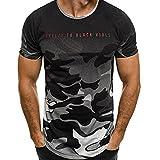 Tops Sannysis Tankshirt Muscle Ärmelloses T-shirt Tank Top Persönlichkeit Tarnung Männer Beiläufig Schmales Kurzarmhemd Top Bluse (L, Grau)
