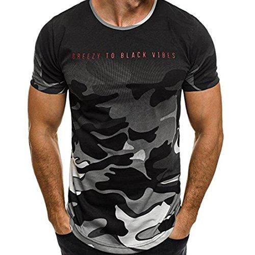 Tops Sannysis Tankshirt Muscle Ärmelloses T-shirt Tank Top Persönlichkeit Tarnung Männer Beiläufig Schmales Kurzarmhemd Top Bluse (M, Grau)
