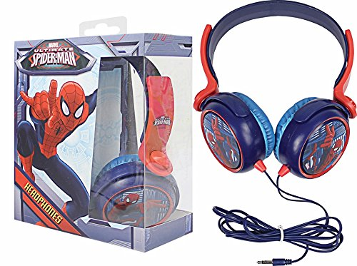 Image of Brand New Avengers Marvel Spiderman Red Blue childrens Earphones Headphones With Adjustable Headband