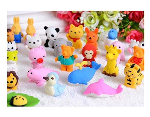20pcs DIY Cute Animal Rubber Pencil Eraser Set Stationery Novelty Children Party Gift(Color Random)