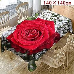 MOIKA Floral Imprimé Nappe pour Table rectangulaire carrée/Nappes Anti Taches en Lin Nappe Décorative (E,140 * 140)
