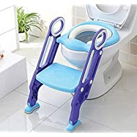 KEPLIN Potty Toilet Seat Adjustable Baby Toddler Kid Toilet Trainer with Step Stool Ladder for Boy and Girl (Purple)