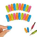 Shulaner Lot de 20 Grippies Aide écriture (Guide doigt) Pencil Grip guides doigts ergonomiques Aide écriture Pour Droitiers Enfants Étudiants Adultes personnes âgées Différentes Couleurs