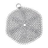 Topf-Netz Edelstahl Gusseisen Metall Ring Topfbürste Küche Reinigung Kochgeschirr Reiniger Bürste Netz für Pfanne, Wok, Topf, Pfanne Rund