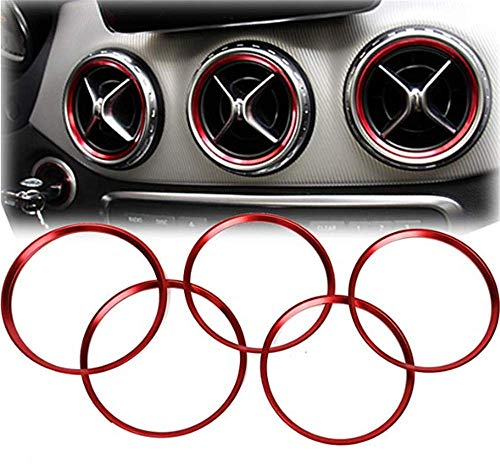 DaFFeng 5Pcs Air Outlet Zierring F¨¹r Mercedes Benz A Klasse A180 A200 A250 W176 - Rot