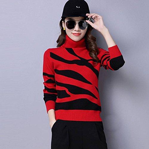 Good dress Frauen Pullover High-Necked Sätze von Kurzen Strickpullover Lose Große Meter Primer-Shirt , rot , s