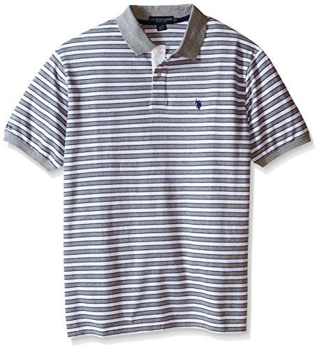 U.S. Polo Assn.. Men's Big-Tall Slim Fit Micro Shadow Stripe Polo Shirt, Heather Grey, 2X - Shadow Stripe Shirt