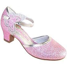 Niña rosa brillante tacón bajo zapatos fiesta con extraíble mariposa adorno