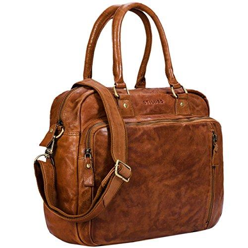 Stilord 'amilia' borsa da lavoro donna in pelle vera stile vintage portadocumenti per pc 13,3 pollici in cuoio borsa a mano per ufficio università, colore:ocra - marrone