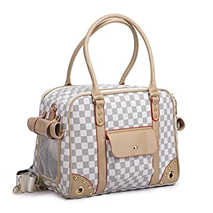 YiHao Lightweight PU Leather Pet Carrier Handbags Tote Bags for Dogs Cats Airline Approve Breathable Mesh Fashion… 4
