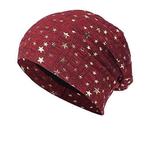 YWLINK Herren Damen Warm Beanie MüTzen Mit Metallic Stern Crochet Winter Strick Ski MüTze Slouchy Kappen Hut Longbeanie,Unisex