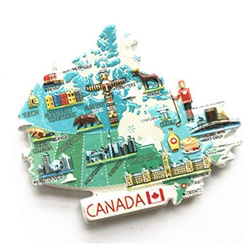 Bella 3D Magnet Frigo Aimant Frigo Aimant Réfrigérateur Décor Voyage Vacances Souvenir de Canada Carte du Pays Drapeau National Fridge Magnet Sticker