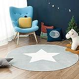 GWELL Sterne Fußmatten Runde Teppich Kinderzimmer Weich Plüsch Anti-Rutsch Kinderteppich für Schlafzimmer Wohnzimmer 80 x 80 cm