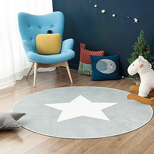 GWELL Sterne Fußmatten Runde Teppich Kinderzimmer Weich Plüsch Anti-Rutsch Kinderteppich für Schlafzimmer Wohnzimmer mint hellgrau 80 x 80 cm -