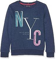 Tommy Hilfiger Girl's Ame S Graphic Cn Hwk L/s Sweatshirt, Blue (Estate Blue 494), 176 (Manufacturer Size: 16)