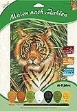 MAMMUT 105020 - Malen nach Zahlen Tiermotiv, Tiger, Komplettset mit bedruckter Malvorlage im A4 Format, 7 Acrylfarben und Pinsel, Malset für Kinder ab 8 Jahre