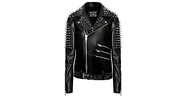 Killstar Metal Leather Jacket Schwarze Herren Lederjacke