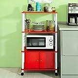 Meubles Cuisine Best Deals - SoBuy® FRG12-R Meuble rangement cuisine roulant en bois, Chariot de cuisine de service micro-ondes