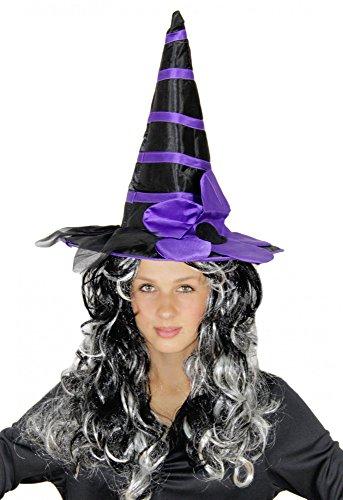 Foxxeo 35196   schwarz-lila Deluxe Hexenhut mit Blume für Damen Halloween Horror Party schwarz Hexe
