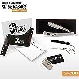 BARBER TOOLS  Kit de rasage - Shavette en acier inoxydable +...