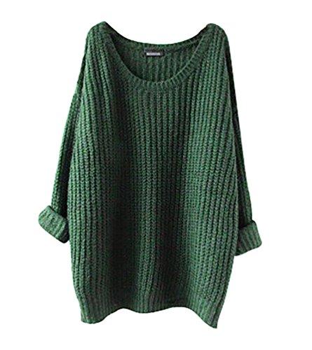 Minetom Femme Casual Manches Longues Pull Sweater Vrac Couleur Unie Tops Chandail Blouse Automne Et Hiver Vert