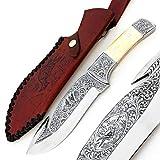 PAL 2000sbab-9404Incroyable oeuvre d'art Totale Travail à Main gravé sur Le Couteau d 2en Acier avec Le même Design comme Gaine en Cuir Lame de Haute qualité Collection Couteau