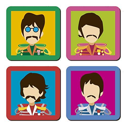 ClickInk Set 4 Posavasos de Madera con Base de Corcho. Regalo The Beatles. Posavasos Frikis, Posavasos...
