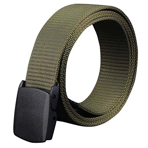 zolimx Men's Belts, Solid Color Plastic Canvas Automatic Buckle Belt (One Size, B)