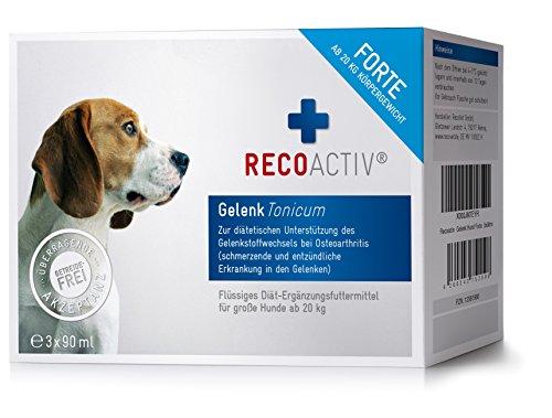 RECOACTIV® Gelenk Forte Tonicum für Hunde ab 20 kg - 3 x 90 ml - mit Grünlippmuschel, Weidenrinde, deutsches Erzeugnis