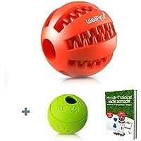 Premium Hundeball 2 Stück   Hundespielzeug Ball aus Naturkautschuk mit Zahnpflege Funktion   BONUS: 1 Gratis Ebook Hundetraining   Snackball & Dentalball ideal für Große & Kleine Hunde sowie zahnende Welpen   Kräftiger Kauspaß mit DentaClean Techn