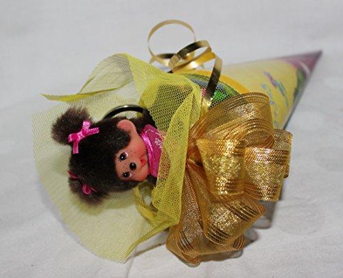 111621 Schultüte 22cm Monchhichi Mädchen gefüllt mit Schlüsselanhänger Yoyo Radierer Ring Highlighter Süßigkeiten - 2