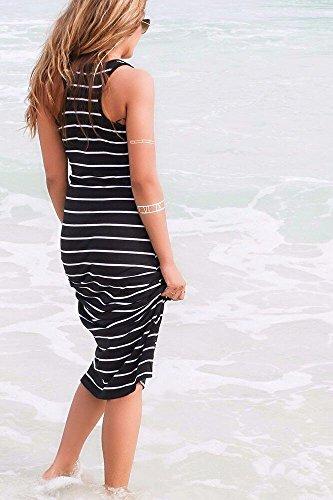 Femme Robe Longue IHRKleid® Plage Robe Sans Manches Stripe Noir