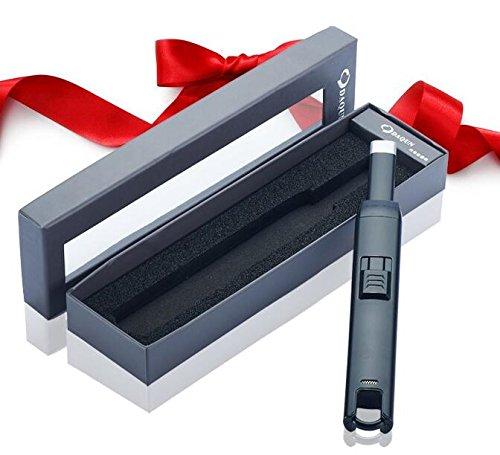 Tycoon BBQ Arc Lighter - Lichtbogen Stabfeuerzeug - Wiederaufladbar - Schwarz oder Silber, Farbe:Schwarz