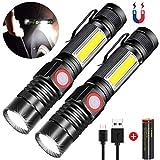 Taschenlampe, Magnet Arbeitsleuchte Wiederaufladbar (18650 Batterie Inklusive*2) 4 Modi Zoombar Wasserdicht COB USB Taschenlampen AOMEES