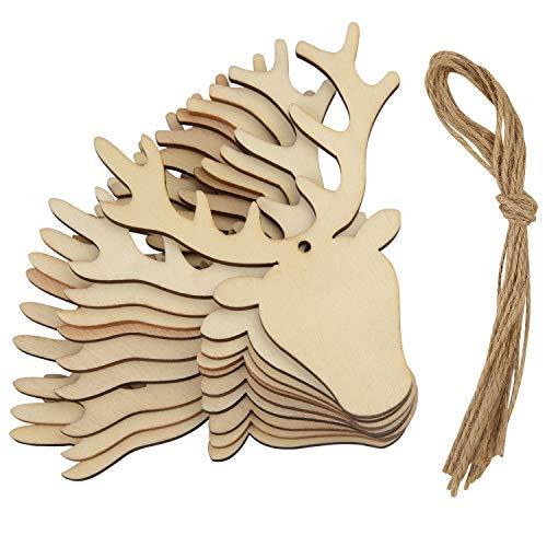 Fepito 10 pz testa di cervo in legno ornamenti da giardino addobbi per l'albero di natale decorazioni artigianato abbellimenti articoli per feste di natale
