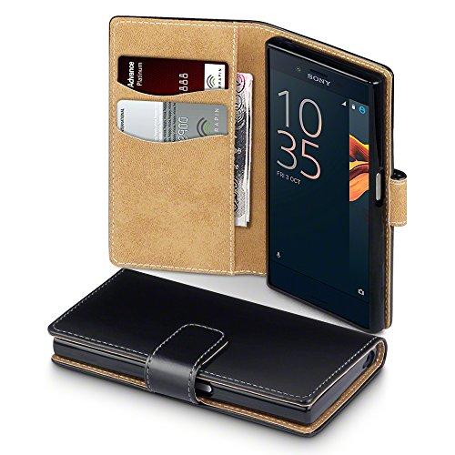 Sony Xperia X Compact Case, Terrapin Handy Leder Brieftasche Case Hülle mit Kartenfächer für Sony Xperia X Compact Hülle Schwarz mit Hellbraun Interior