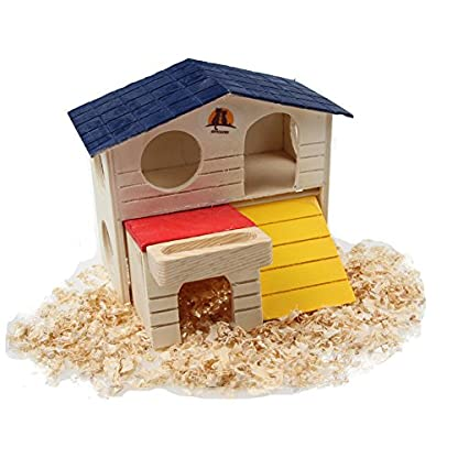 emours Pet Small Animal Hideout Hamster House Deluxe Two Layers Wooden Hut Play Toys Chews with Natural Wood Chips 2