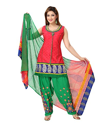 Idha - FREE Maybelline Colossal Kajal MRP 199 - Red-Green Straight Fit Zakad Cotton Lace Work Festive/Party Wear Readymade Salwar Suits | GC1139