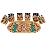 Sanyal Handmade Decorative Stainless Steel Superior Quality Glass And Tray Set, Big Size 6 Glass & Tray.